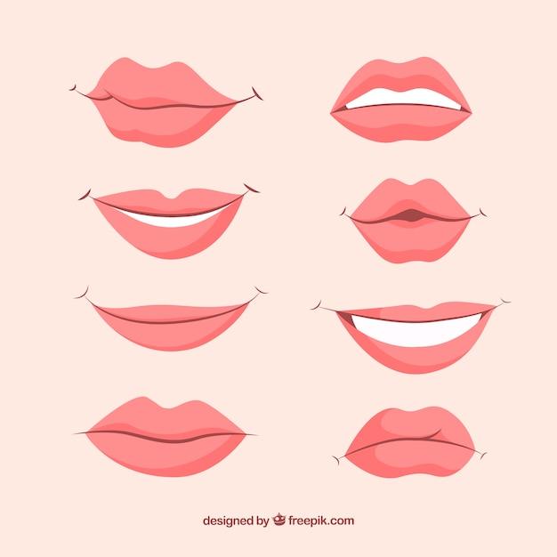 Mooie lippen gezet Gratis Vector