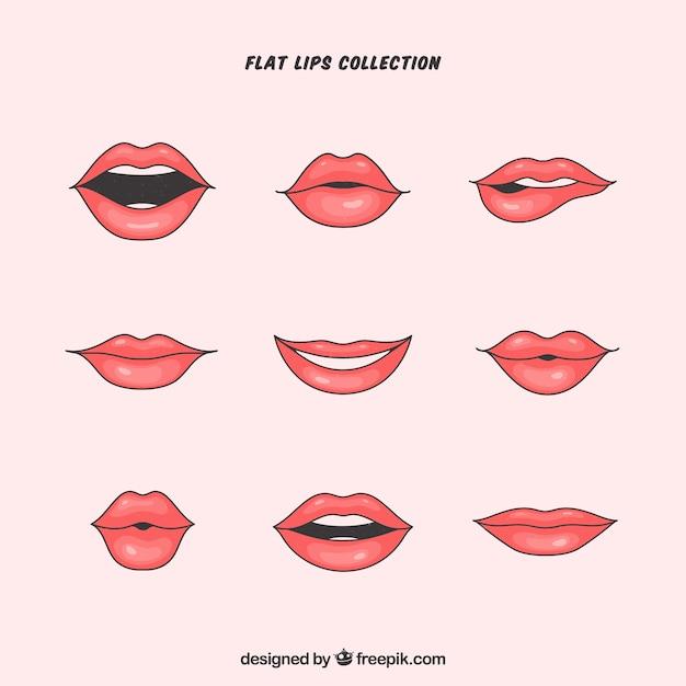 Mooie lippen gezet Premium Vector