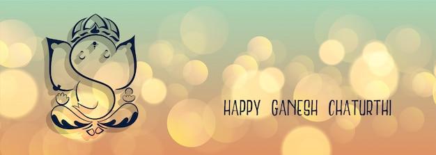 Mooie lord ganesha-banner voor ganesh chaturthi Gratis Vector