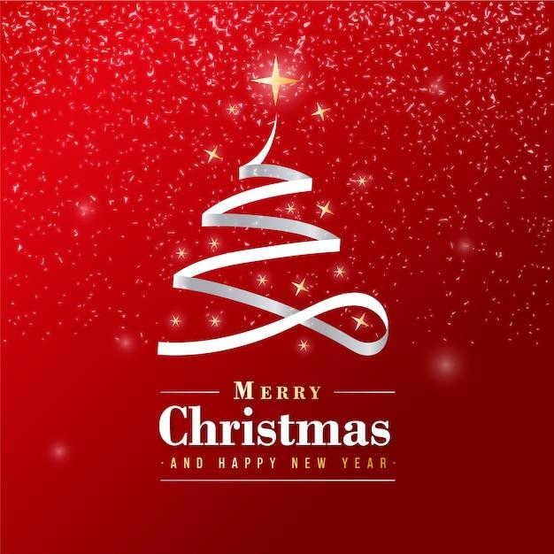 Mooie merry christmas-banner met zilveren lint Gratis Vector