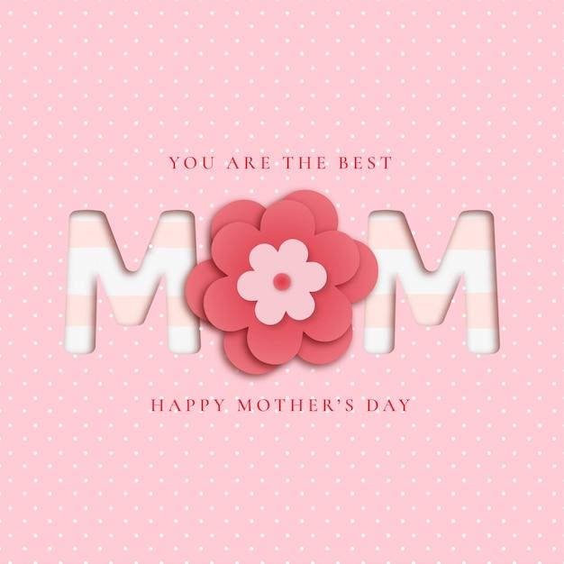 Mooie moederdagachtergrond met papercut-bloemen Gratis Vector