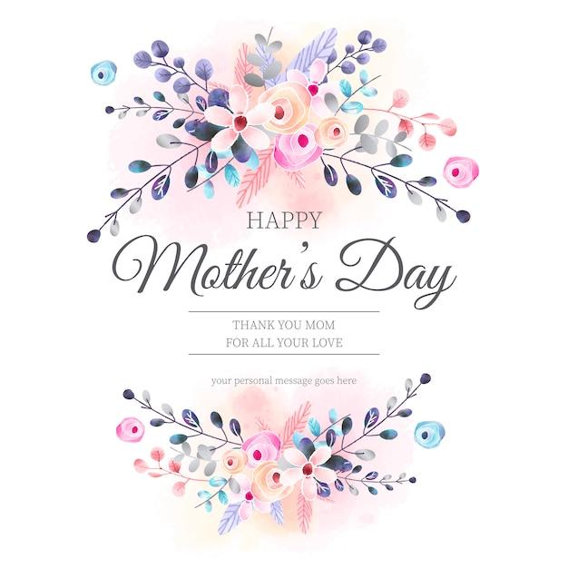 Mooie moederdagkaart met waterverf bloemenornamenten Gratis Vector