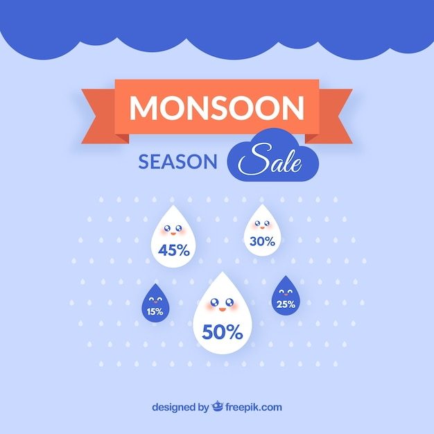 Mooie moesson seizoen verkoop samenstelling Gratis Vector