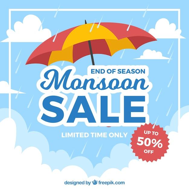 Mooie moesson-verkoopsamenstelling met plat ontwerp Gratis Vector