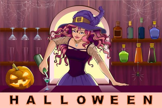 Mooie mooie heksenmeisje giet cocktails halloween-feest. cartoon illustratie Premium Vector