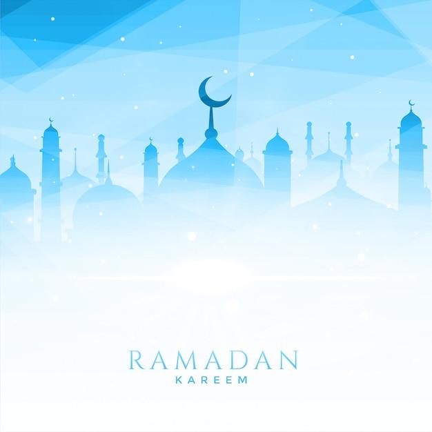 Mooie moskeeillustratie voor ramadan kareem Gratis Vector