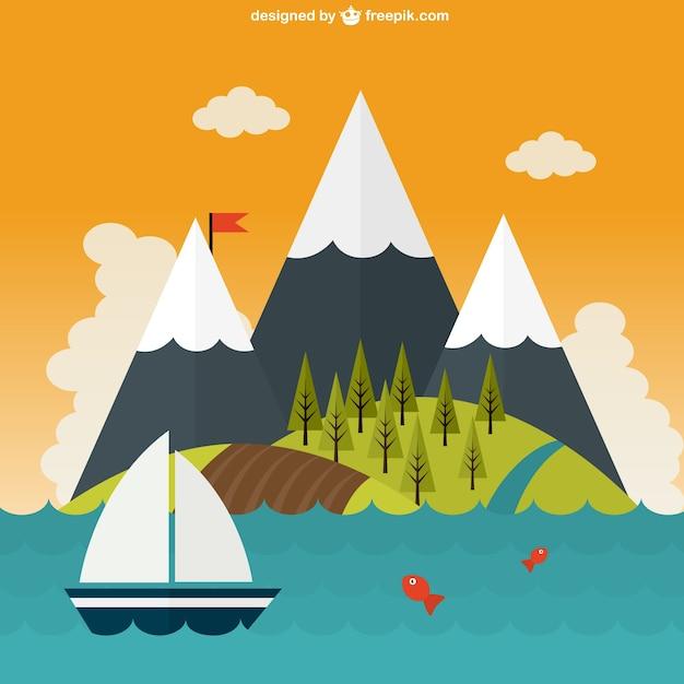 Mooie mountaints landschap aan de zee Gratis Vector