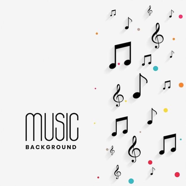 Mooie muzieknoten achtergrond met copyspace Gratis Vector