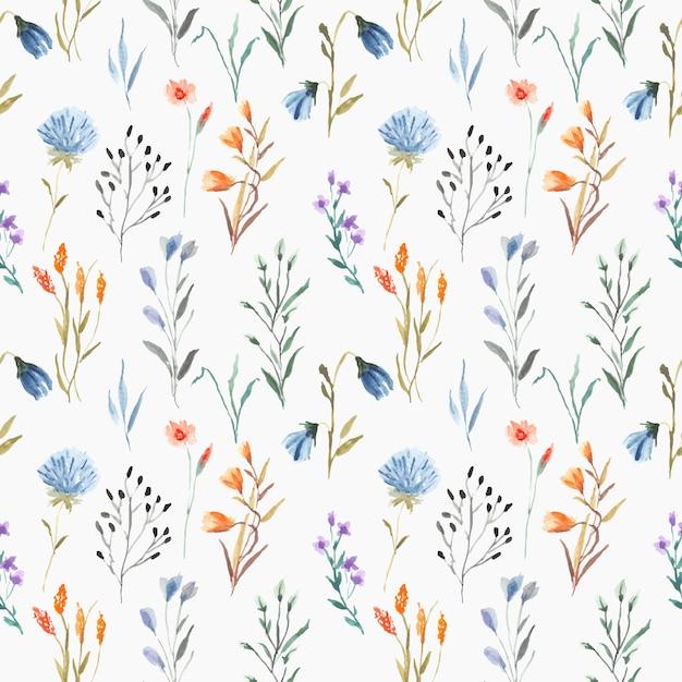 Mooie naadloze bloemenwaterverf met bladeren op blauwe achtergrond Premium Vector