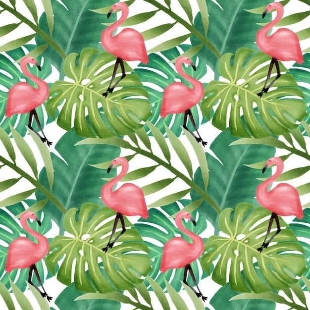 Mooie naadloze het patroonflamingo van het waterverf tropische blad Premium Vector