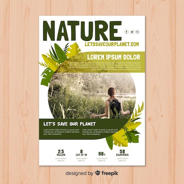 Mooie natuur flyer sjabloon met moderne stijl Gratis Vector