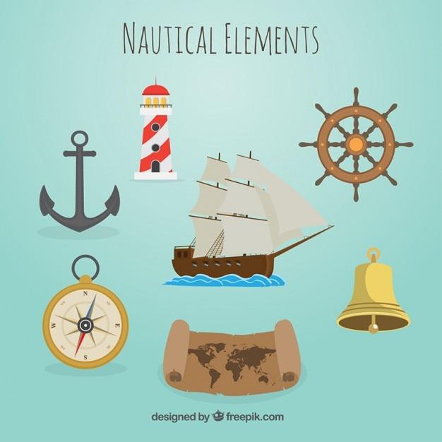 Mooie nautische elementen Gratis Vector