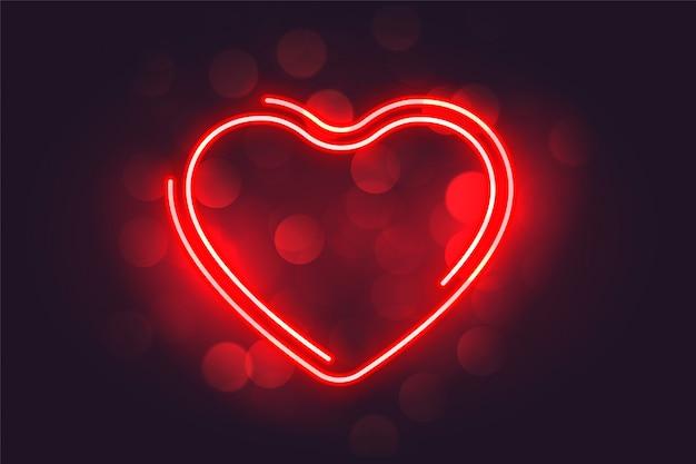 Mooie neon rode hart valentijnsdag achtergrond Gratis Vector
