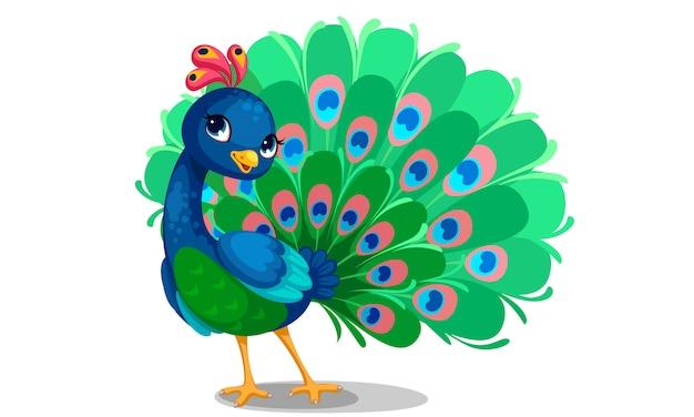 Mooie pauw cartoon omtrek tekenen om in te kleuren Gratis Vector