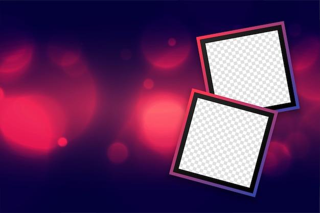 Mooie photoframesachtergrond met bokeh-effectontwerp Gratis Vector