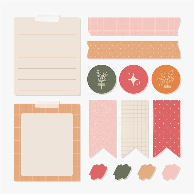 Mooie planner plakboek elementen collectie Gratis Vector