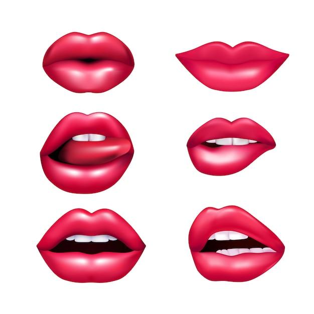Mooie pluche vrouwelijke lippen die verschillende emoties nabootsen nabootsen reeks die op witte achtergrond wordt geïsoleerd rea Gratis Vector