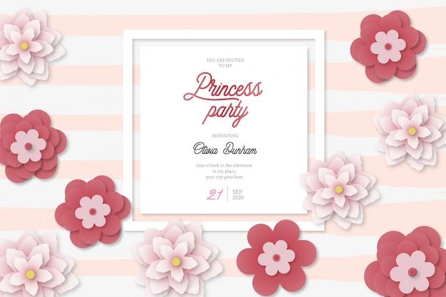 Mooie prinses partij kaart achtergrond met bloemen Gratis Vector