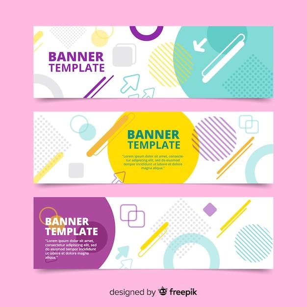 Mooie reeks kleurrijke banners Gratis Vector