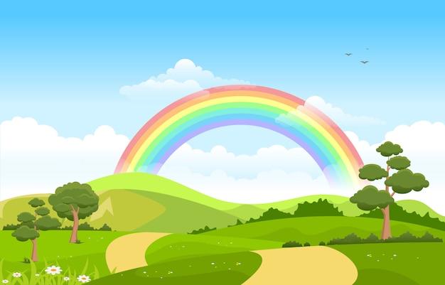Mooie regenbooghemel met de groene aard van de weideberg Premium Vector