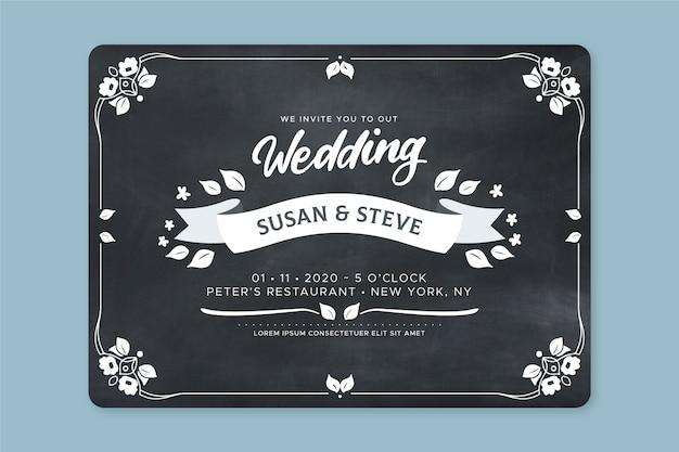 Mooie retro bruiloft uitnodiging Gratis Vector