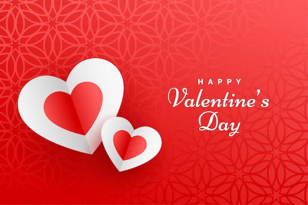 Mooie rode gelukkige valentijnsdagkaart Gratis Vector
