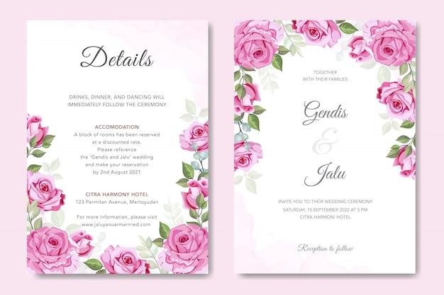 Mooie roos vector voor bruiloft uitnodiging Premium Vector