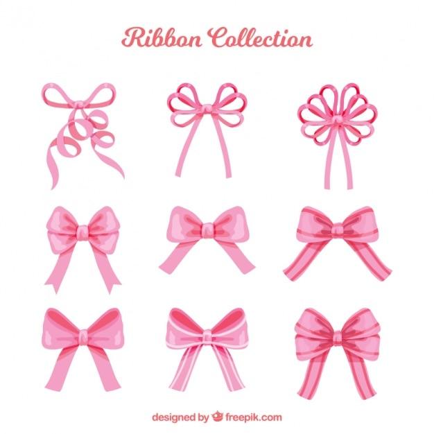 Mooie roze decoratieve bogen pakken Gratis Vector