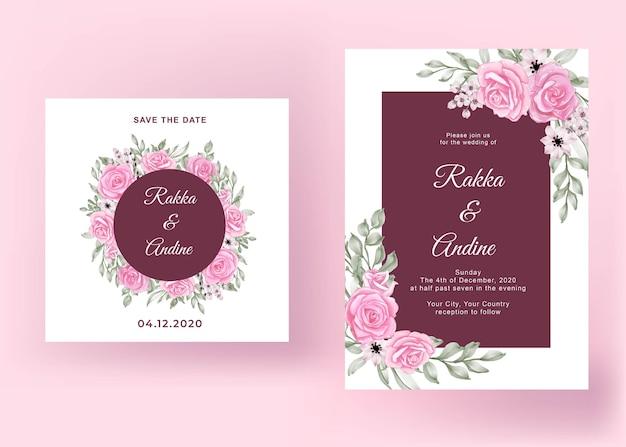 Mooie roze roos bruiloft kaartsjabloon Gratis Vector