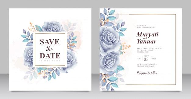 Mooie rozen blauwe aquarel bruiloft uitnodiging kaartsjabloon Premium Vector