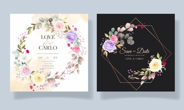 Mooie rozen bloem uitnodiging kaartsjabloon ontwerpen Gratis Vector