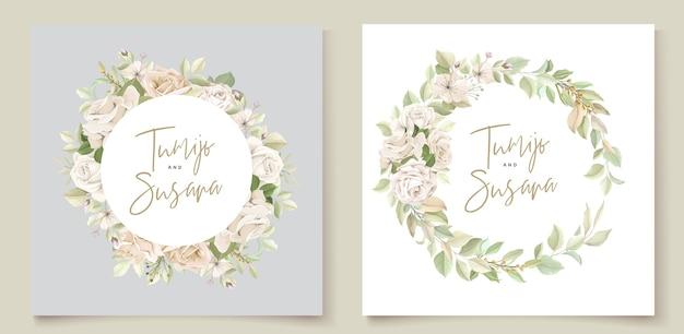 Mooie rozen uitnodigingskaartsjabloon Gratis Vector