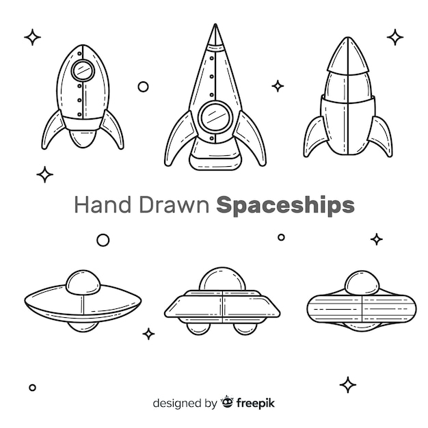 Mooie ruimteschipcollectie met hand getrokken stijl Gratis Vector