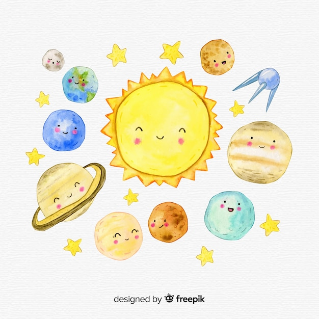 Mooie samenstelling van het aquarel zonnestelsel Gratis Vector