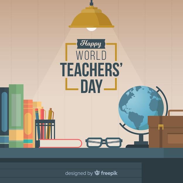 Mooie samenstelling voor lerarendag met plat ontwerp Gratis Vector
