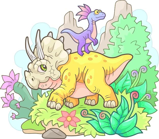 Mooie schattige triceratops illustratie Premium Vector