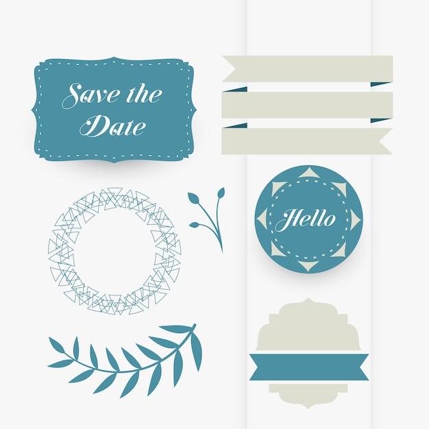 Mooie set decoratieve elementen bruiloft ontwerp Gratis Vector