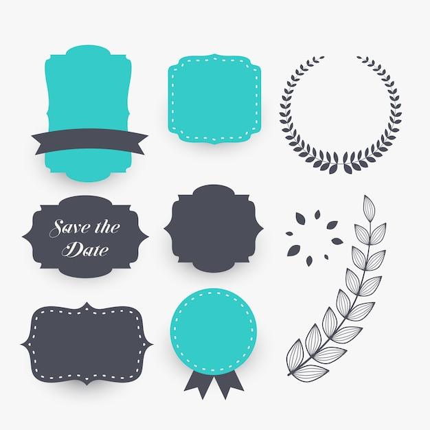 Mooie set elementen van de huwelijksdecoratie Gratis Vector