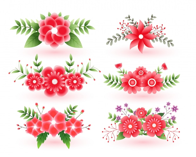 Mooie set van decoratieve bloemen met bladeren Gratis Vector