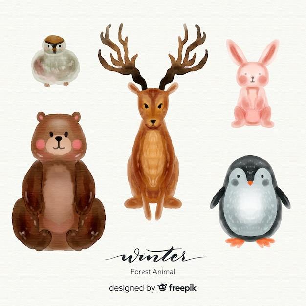 Mooie set van winter bosdieren Gratis Vector