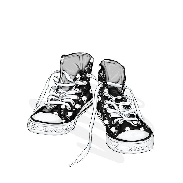 Mooie sneakers. illustratie voor een foto of poster. jeugd schoenen. sporten, hardlopen en wandelen. Premium Vector