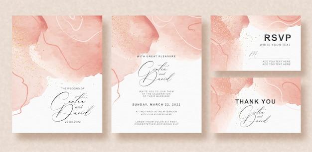 Mooie splash bruiloft uitnodiging set Premium Vector