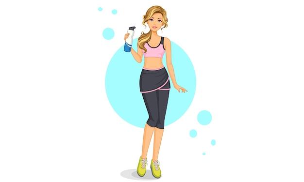 Mooie sportschool meisje staande pose met een fles water Premium Vector