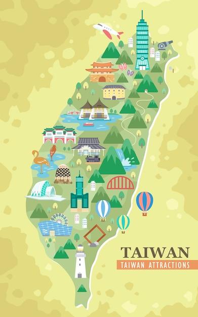 Mooie taiwan attracties reiskaart Premium Vector