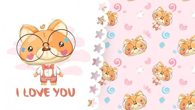 Mooie tekening van teddy vos met patroonachtergrond Premium Vector