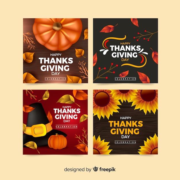 Mooie thanksgiving-kaartcollectie met realistisch ontwerp Gratis Vector
