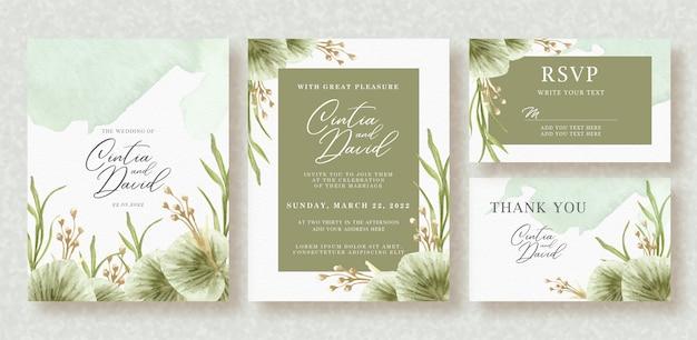 Mooie trouwkaart met prachtige bloemen aquarel Premium Vector