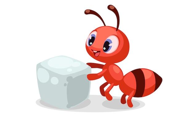 Mooie uitdrukkingen op mierengezicht na het kijken naar een suikerklontje Gratis Vector