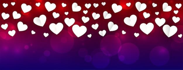Mooie valentijnsdag banner met hartjes patroon Gratis Vector