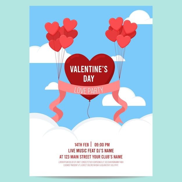 Mooie valentijnsdag partij folder sjabloon Gratis Vector